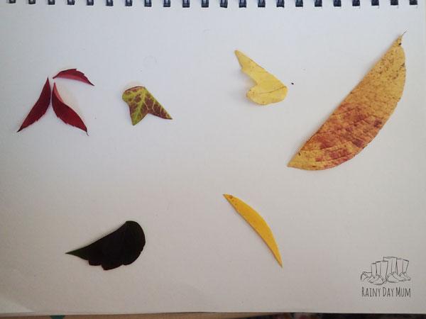 leaf halves ready for the art activity