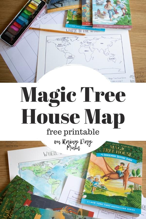 pinterest image for a free printable magic tree house map showing it being used