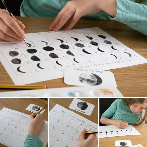 collage of a 9 year old keeping the phases of the moon journal
