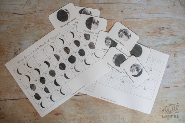 completed moon journal and the watercolour moon phase cards in the free printable pack