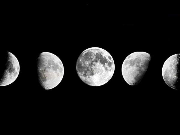 combined image of different phases of the moon over a month