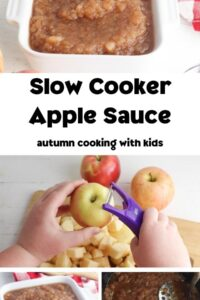 Collage of making apple sauce in the slow cooker