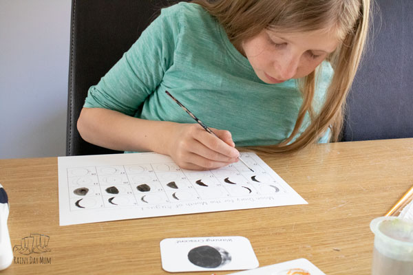 learning about the phases of the moon and the lunar cycle by keeping a moon journal for a month