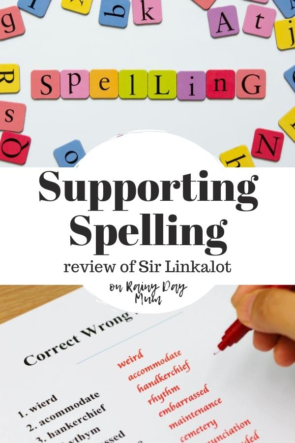 spelling collage text in the centre reads supporting spelling review of Sir Linkalot