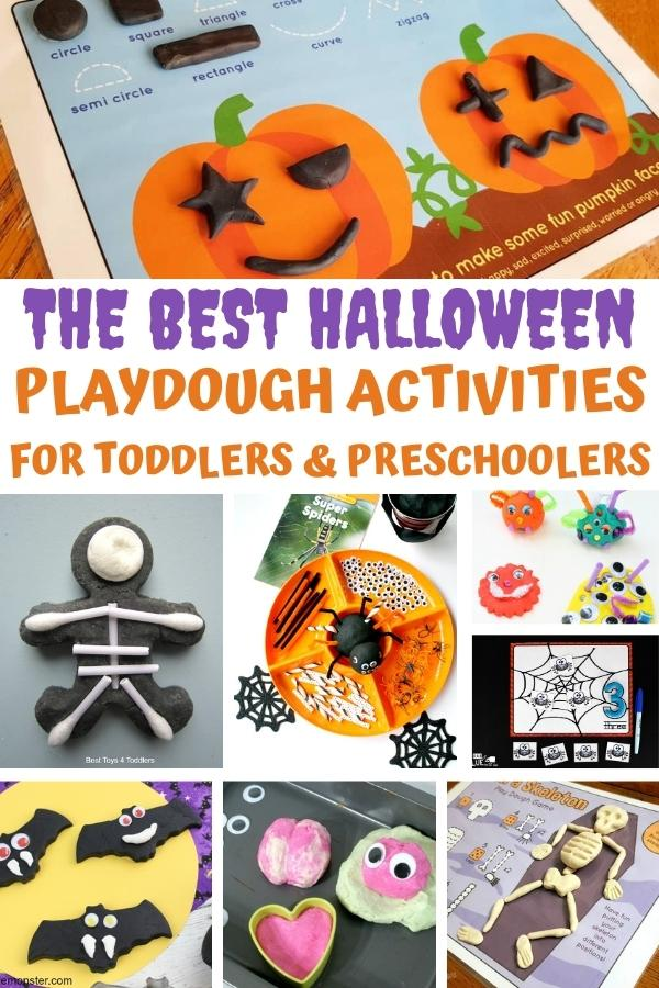 Collage of the best Halloween playdough activities and mats for toddlers and preschoolers includes pumpkins, bats, zombies and more