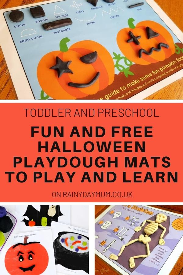 Collage of halloween playdough mats for toddlers and preschoolers