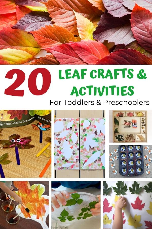 collage of leaf activities for toddlers and preschoolers (20 different ideas)