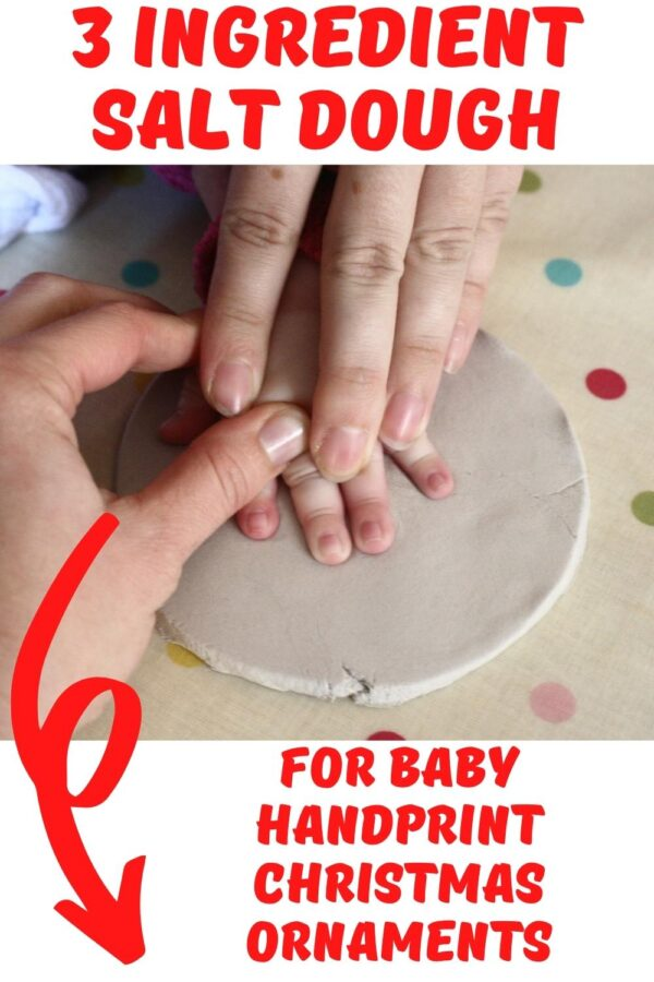 making a handprint ornament from salt dough with a baby pinterest image