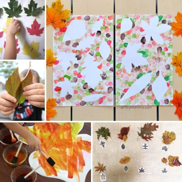 collage of easy and simple leaf activities and crafts to do at home with toddlers and preschoolers