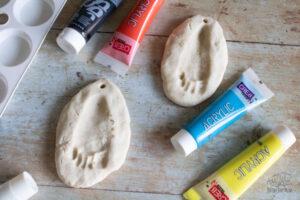 salt dough footprint keepsakes ready to paint