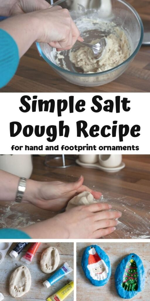 collage of making salt dough footprint ornaments with baby with text reading Simple Salt Dough Recipe for hand and footprint ornaments