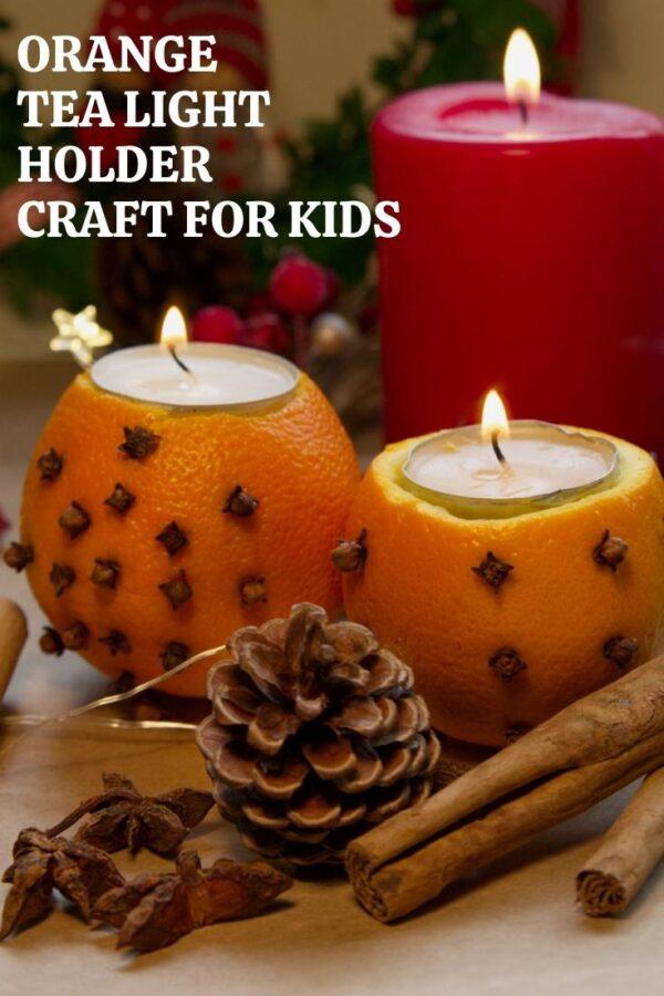 Orange Tea Light Holder Craft for Kids Pinnable Image