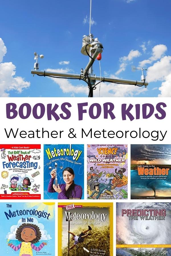 Collage pin of book covers all about weather and meteorology with a picture of a weather station