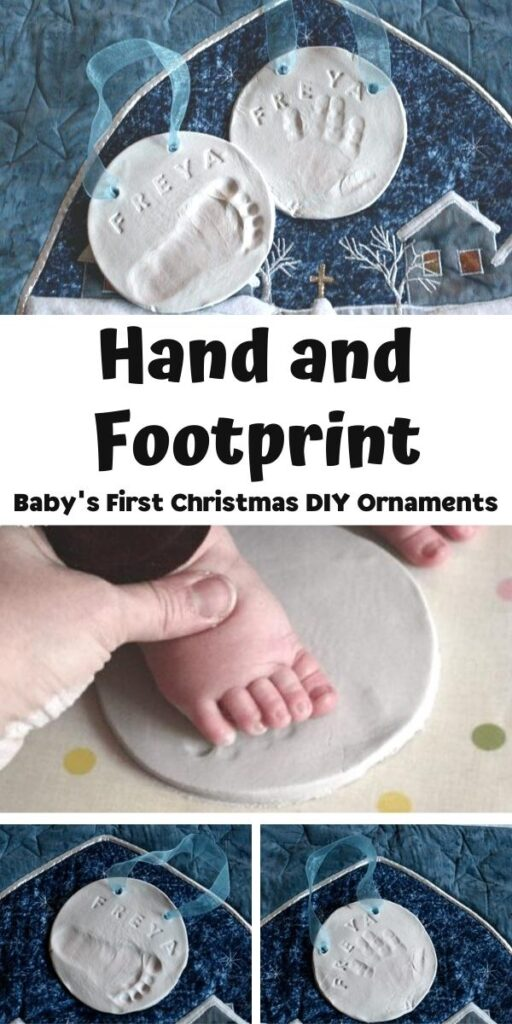 Hand and Footprint baby's first christmas ornament collage