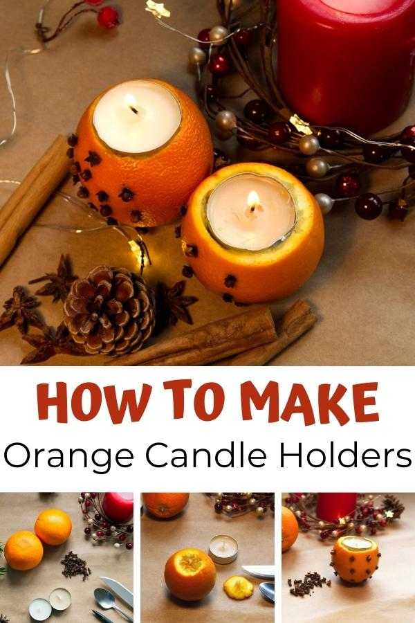 Collage of how to make orange candle holders for Pinterest