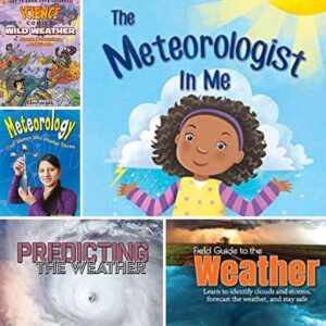 collage of 5 of the selection of best books for kids on Meteorology and weather