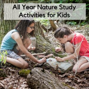 Image of 2 girls in the woods looking at the insects that can be found on the bark of a tree holding jars and equipment text on the image reads All Year Nature Study Activities for Kids