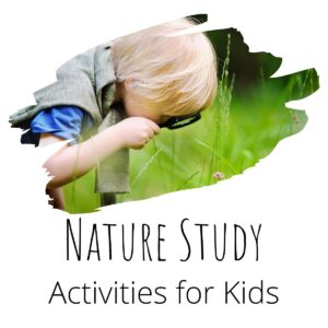 child looking through a magnifying glass at the plants in a meadow inside a swish, the text below reads Nature Study Activities for Kids