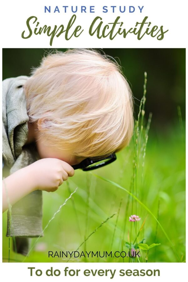 Pinterest image for simple nature study activities to every season with kids