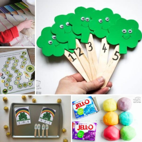 st patrick's day activities for toddlers and preschoolers collage. Images include making soda bread, a board game that is a free printable, letter matching activities, rhyme puppets and rainbow homemade playdough