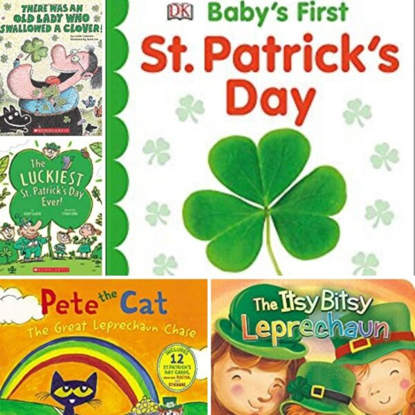 collage of covers of st patrick's day books to read with young toddlers and preschoolers