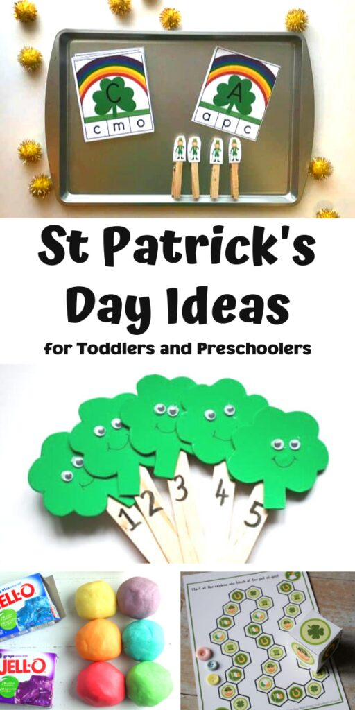 St Patrick's Day Ideas for Toddlers and Preschoolers pinnable image from Rainy Day Mum