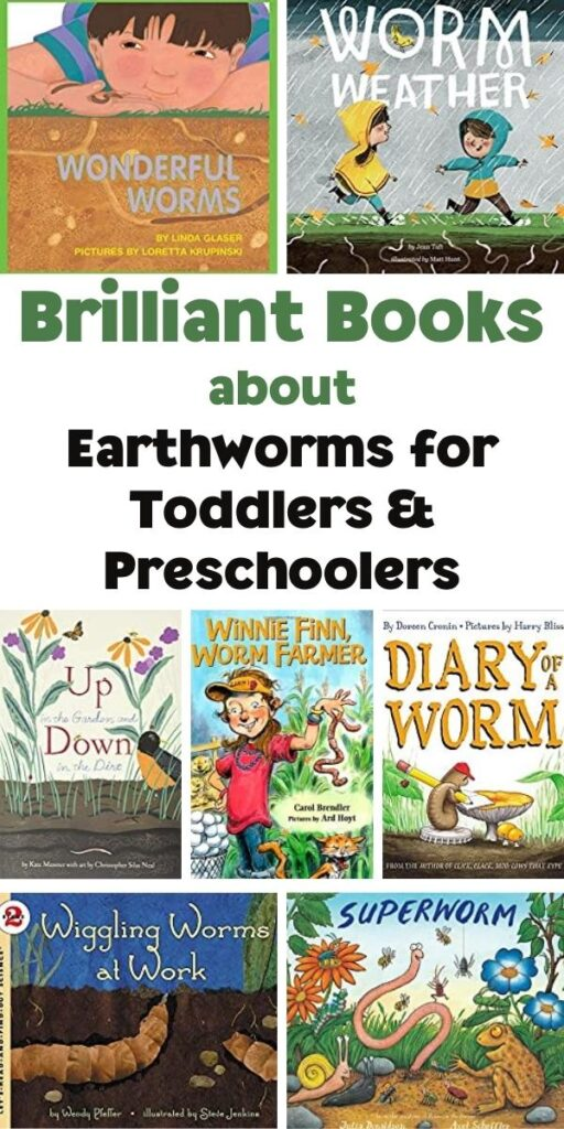 Brilliant Books about Earthworm for Toddlers and Preschoolers Pinterest Image from Rainy Day Mum