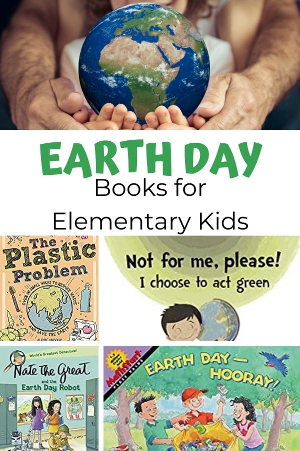 pinterest image of earth day books for elementary kids