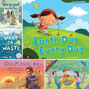 collage of covers of some of the books for primary aged kids that are recommended to read to learn about conservation, enviornment and more ideal for earth day