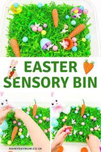 Pinterest image for an Easter Sensory Bin from Rainy Day Mum