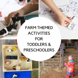 collage of 4 simple farm themed activities for toddlers and preschoolers, math with farm animals, free printable domino game, sensory bin and a visit to the farm