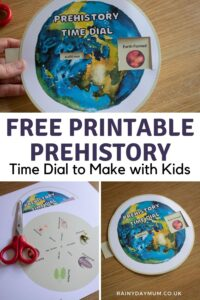Pinterest image for a free printable prehistory time dial to make with kids
