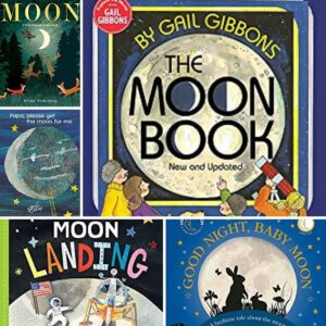 Collage of images of covers of the best moon books for toddlers and preschoolers hand picked by rainy day mum and kids to read aloud together