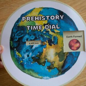 prehistory free printable time dial showing how many millions of years ago the earth formed and major events through to early man