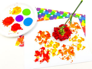 colourful flower prints on a piece of paper