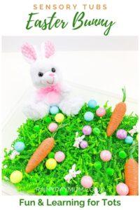 Pinterest Image for an Easter Bunny Sensory Bin