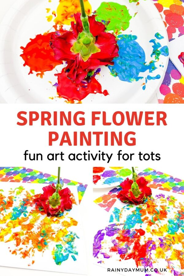Spring Flower Painting Fun Art Activity for Tots Pinterest Image from Rainy Day Mum
