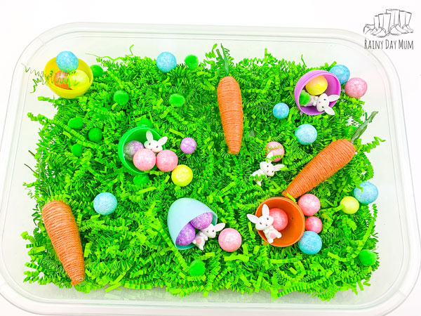 spring sensory tub minus the easter bunny a way to continue the play and learning either side of easter as well