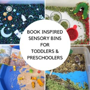 Collage of 4 sensory bins set up to go with books, a space themed, very hungry caterpillar, dinosaur dig and the gruffalo the text reads Book Inspired Sensory bins for Toddlers and Preschoolers