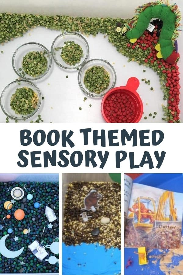collage of simple and fun book themed sensory bins top image of a very hungry caterpillar sensory tub set up, below are 3 images, a space themed, gruffalo and a page from Dinosaur Dig for a simple construction dinosaur themed bin. The text reads Book Themed Sensory Play