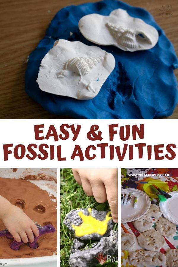 pinterest image for easy and fun fossil activities. Collage of 4 different simple  activitiees make trace, cast, mould and dinosaur eggs to excavate