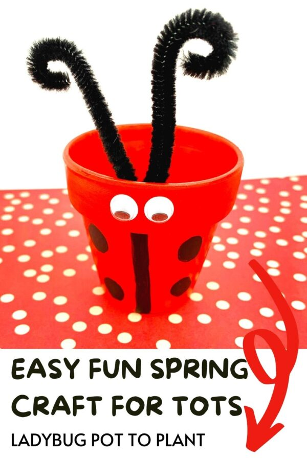 Pinterest image of the close up of a ladybird planter that kids can make text reads Easy fun spring craft for tots ladybug pot to plant