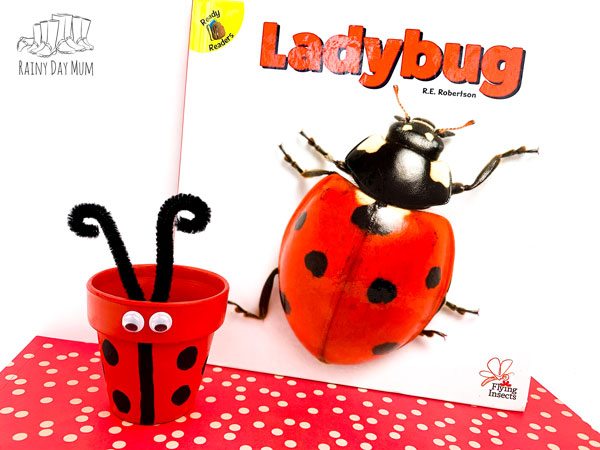 flying insect ladybug craft for kids to make a ladybird clay pot painted by a toddlers