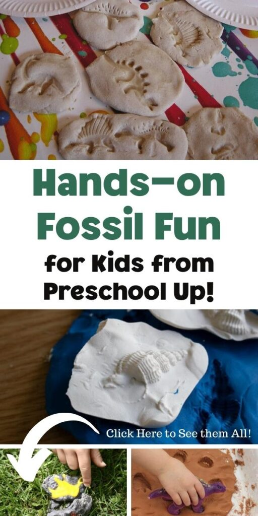 Pinnable image from Rainy Day Mum for Hands-on Fossil Fun for kids from preschool up showing a collage of different fossil creation activities kids can do at home