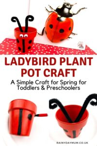 Pinterest image of a ladybird plant pot craft for spring to make with toddlers and preschoolers. Images in the collage show the finished pot beside a ladybug flying insects book and below 2 of the stages of making the pot