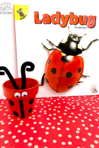 ladybug clay pot infront of the book Ladybug Flying Insects that inspired by the kids craft