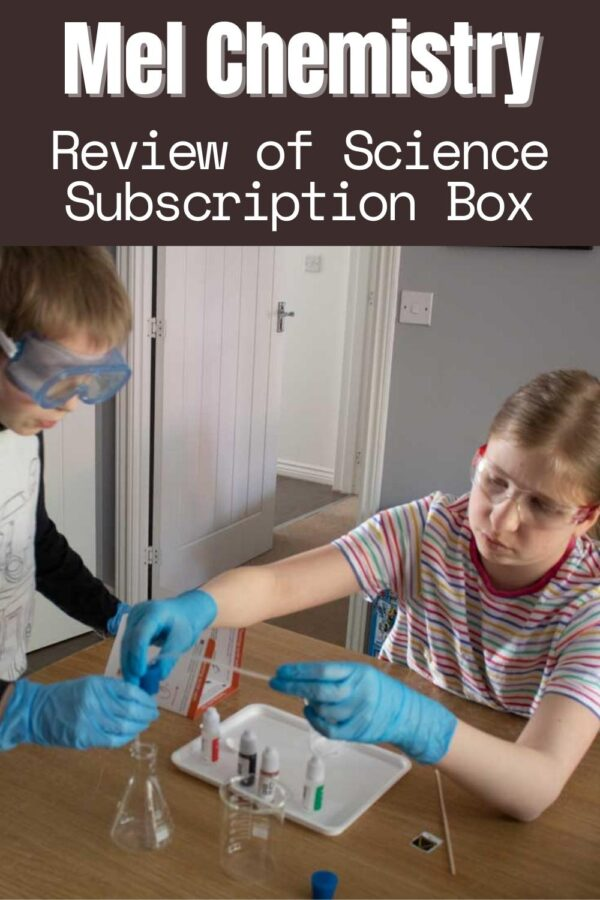 two tweens using the equipment to conduct an experiment into pollution from the Mel Chemistry Subscription Box