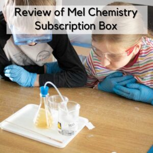 kids looking at the gas created in a conical flask from an experiment in the Mel Chemistry set, the text overlay reads reviiew of mel chemistry subscription box