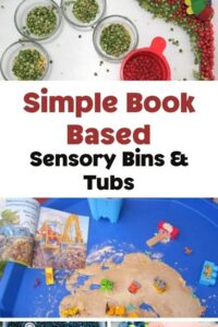 Pinterest image for simple book based sensory bin and tubs collage - images shown of a The Very Hungry Caterpillar sensory tub, a dinosaur dig in kinetic sand on a tuff spot, plus 2 smaller images of space themed sensory tubs and a dinosaur within a taste safe sensory bin