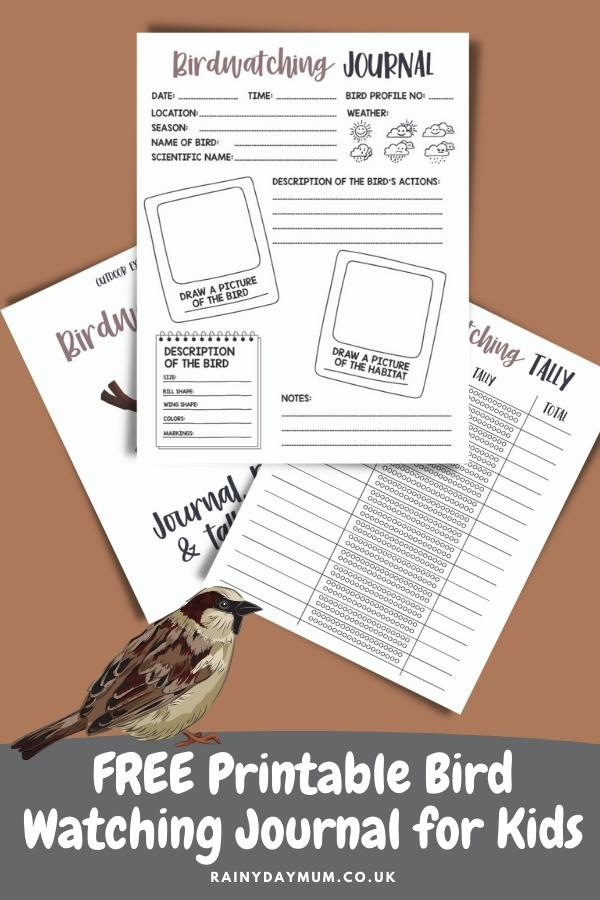 Pinnable image of the pages of a free printable bird watching journal for kids